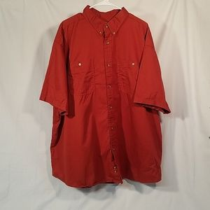 Mens Red Short Sleeve Button Down